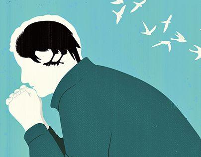 Tegning af mand med krave i hoved symboliserer fysiske symptomer på depression