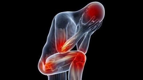 Person med røde mærker på kroppen symboliserer fysiske symptomer på depression