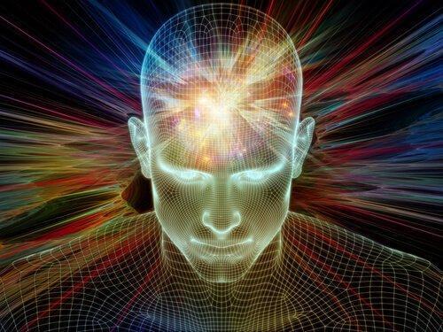 Persons hoved oplyses i forskellige farver for at illustrere transpersonel psykologi