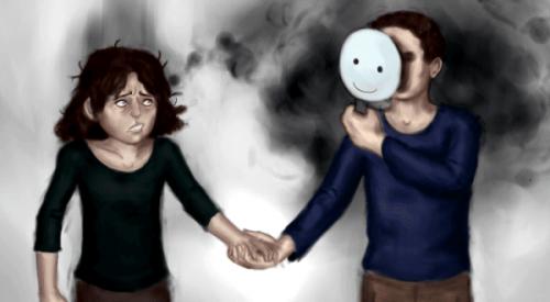 Mand med maske holder kvindes hånd