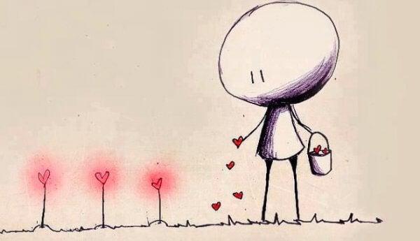 der plantes små røde hjerter