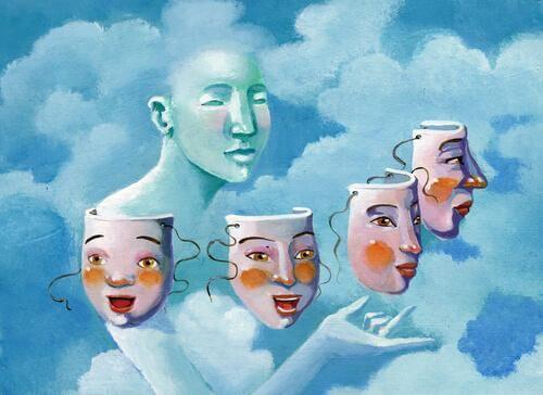 Person i sky med masker illustrerer normopati