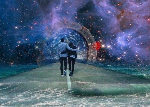 Personer går på vej under univervers med stjerner