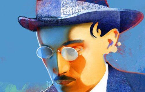 Portræt af Fernando Pessoa, der har skrevet Rastløshedens bog