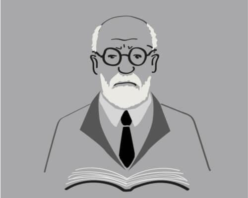 En tegneserie tegning af Freud