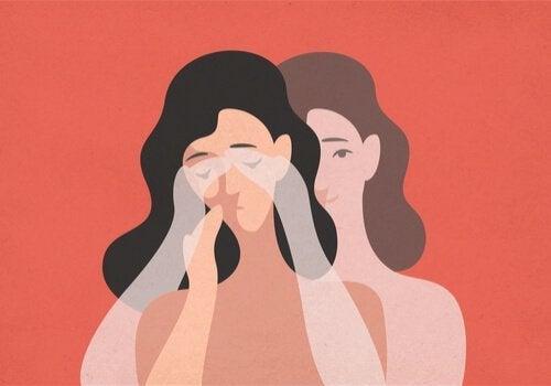Tegning af kvinde, der græder, som eksempel på at savne nogen, der ikke savner dig