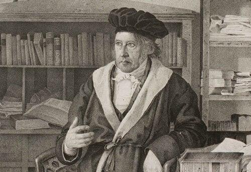 Portræt af Georg Wilhelm Friedrich Hegel i bibliotek