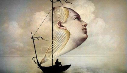 Ansigt danner sejl for båd