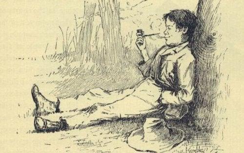 Illustration af Huckleberry Finn