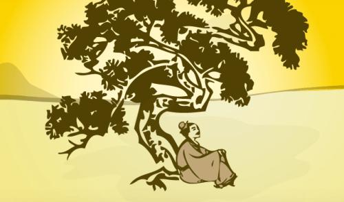 Kvinde sidder under et træ