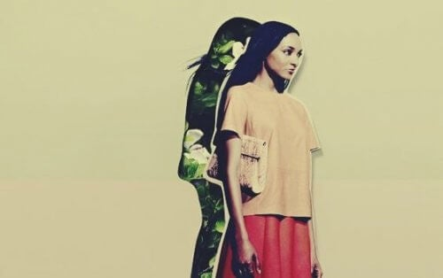 kvinde og hendes skygge symboliserer selvafsløring