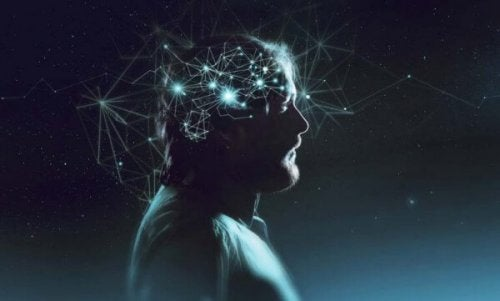 Flowtilstanden er den optimale oplevelse, som illustreret af lys omkring mands hoved