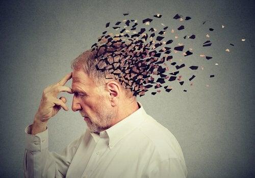 Poppelreuter test illustreret af mand, hvis hoved går i tusind stykker