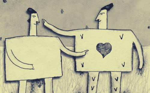 to figurer forsøger at forstå hinanden