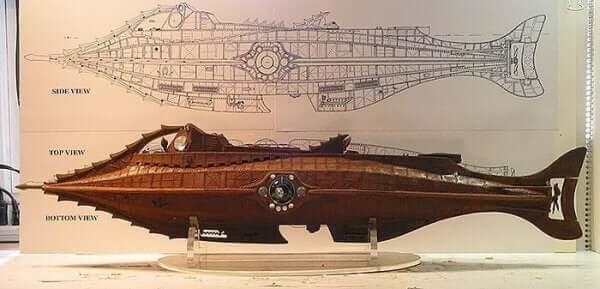 Vernes tegninger af en ubåd