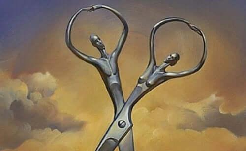 Saks, der ligner et par, symboliserer en forholdskontrakt