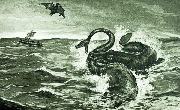 et uhyre angribes i havet fra en bog af Jules Verne