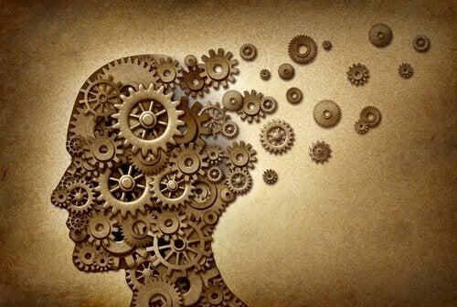Et menneskeligt hoved lavet med tandhjul symboliserer neuroetik