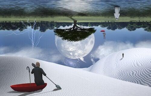 et surrealistisk landskab illustrerer søvnparalyse