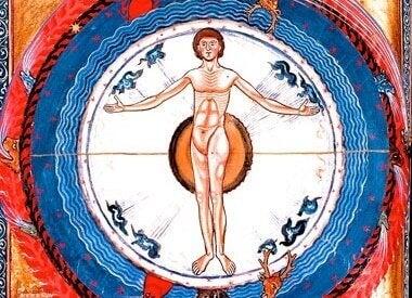 tegning af nøgen mand i cirkel