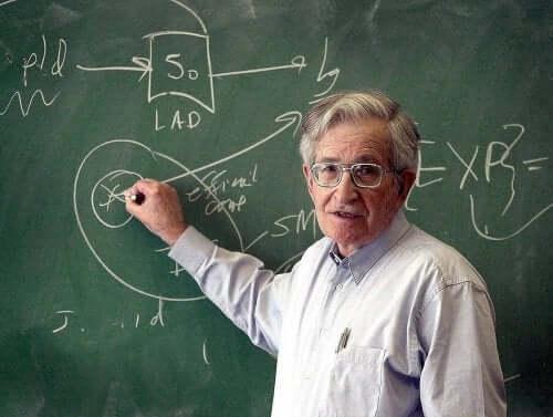 Noam Chomsky, der underviser ved tavle
