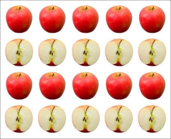 Halve og hele æbler symboliserer statistik
