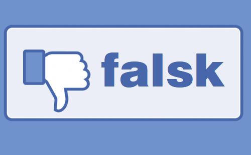 Facebook tekst ændret til falsk som symbol for falske nyheder på sociale medier