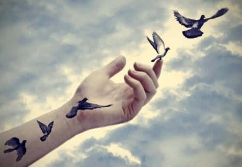 duer flyver ud af en hånd