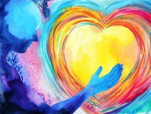 Et farverigt hjerte og en person