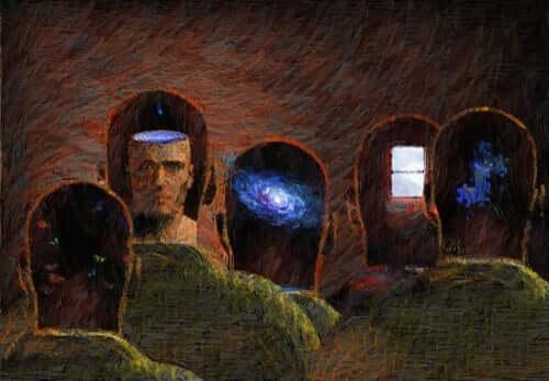 En gruppe af mænd med gennemsigtige sind, der repræsenterer, at alle sandheder er subjektive og bor i hvert enkelt menneskes vilje til magt