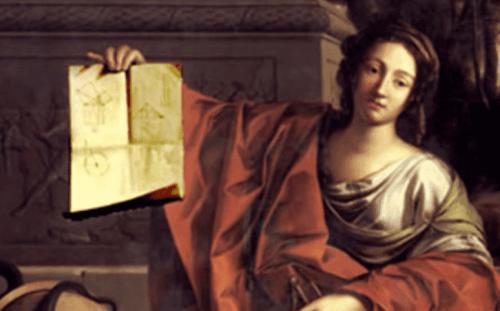 Hypatia af Alexandria med en matematikbog