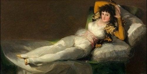 Maleri af en kvinde på en chaiselong