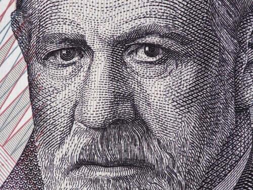 Tegning af Freud, der gav os teorien om genetik og psykoanalyse