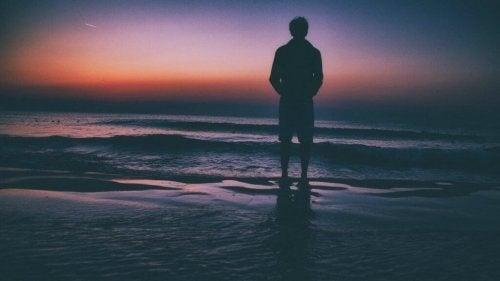 Mand står i vandkanten og betragter himlens farver