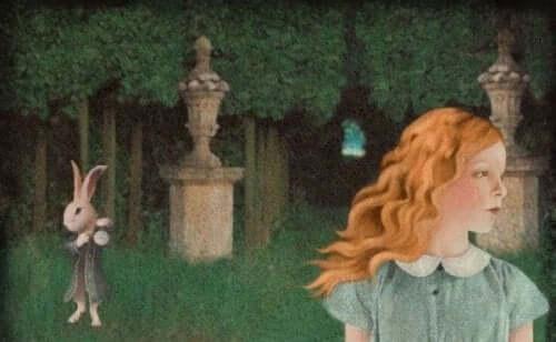 tegning af scene fra Alice i Eventyrland