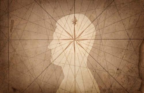 Stjerne i midten af mands hoved illustrerer psykoanalyse udviklet af Jean Laplanche