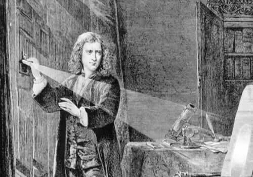 Isaac Newton leger med lys