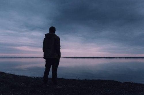 Person ser ud på sø
