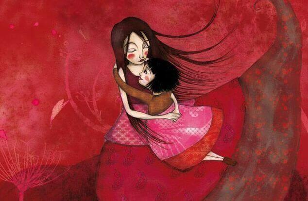 Tegning af mor og datter, der krammer