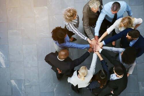Kolleger samler hænder og viser gruppe samhørighed