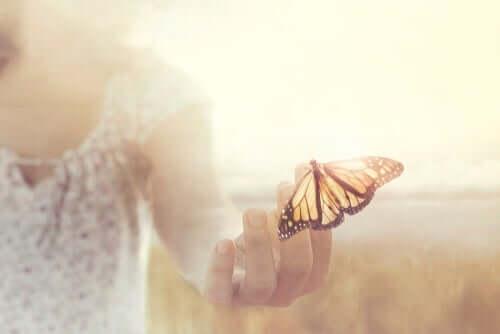 kvinde, der holder en sommerfugl