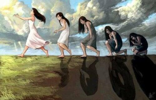 Opskriften på lykke illustreres af kvinde, der går fra mørke til lys