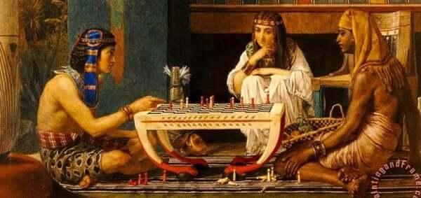 Ramses og Moses. Et maleri af to skakspillere af Lawrence Alma Tadema.
