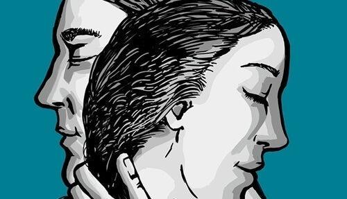 Tegning af silhuet af kvinde og mand er en del af psykologitest til par