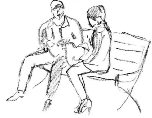 Tegning af to personer på bænk er en del af psykologitest til par
