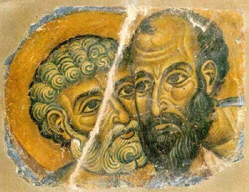 gammel tegning af to mænd