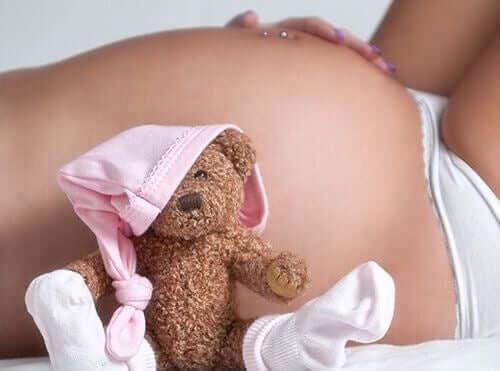 gravid kvinde og bamse