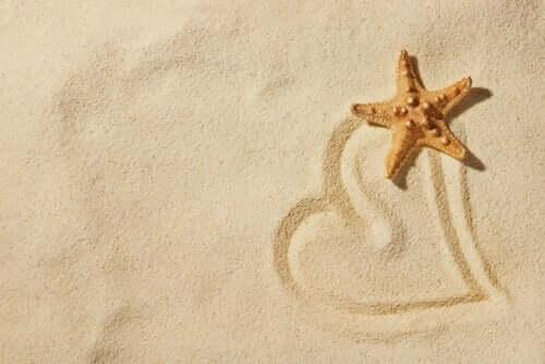 hjerte tegnet i sand