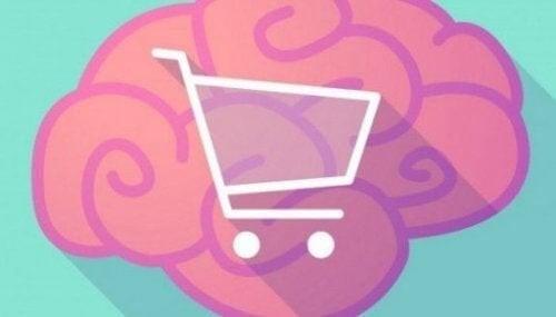 En tegning af en indkøbsvogn inde i en hjerne symboliserer eksponeringseffekten