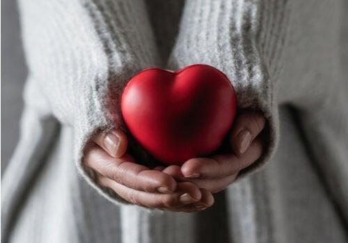 person, der holder et hjerte i sine hænder